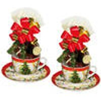 Christmas Design Cup,Saucer + Plate with Belgian Chocolates, Set of 2
