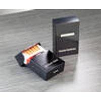 Cigarette case, black with engraving, magnetic closure, font type A / Leaflet