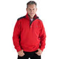 Sweatshirt with Button Facing, red, various sizes