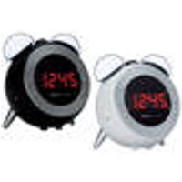 Clock radio, in black, with time projection and alarm function