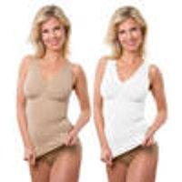 Figure-flattering slimming shirt with zip, colour beige, size L / XL Smarttex