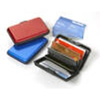 Credit card case, made of aluminum, with engraving, red, cursive writing