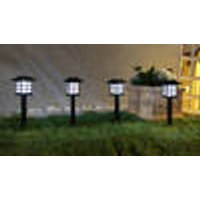 Solar LED Standing Lantern Set, 4 Pieces, Ground Spike