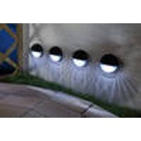 Solar LED Wall or Fence Lights, 4 Pieces