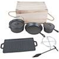 Cast Iron Dutch Oven Set, with Wooden Case (7 Pieces)