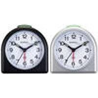 Quartz alarm clock with luminescent hands, silver Techno Line