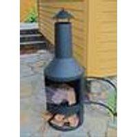 3-in-1 Chimnea Grill, Hearth / Griddle / BBQ, Black Steel, 45 x 45 x 134 cm