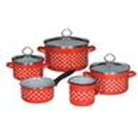 Dotty Enamel cookware, set of 8 - scratch resistant with litre scale