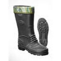 EVA rubber boots, black with camouflage sock, size 5