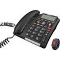 Corded large button phone with emergency transmitter and direct dial buttons Switel