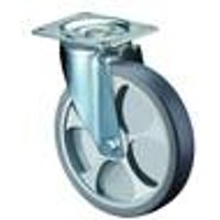Steering Roller, 80 mm, Rubber Wheel, Plastic Rim, Roller Bearing