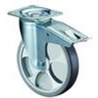 Fixed Wheel, 80 mm, Rubber Wheel, Plastic Rim, Roller Bearing