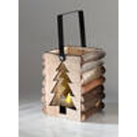 Wooden lantern with fir tree cut-out and LED tea candle Heitronic