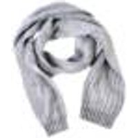 Scarf with ribbed structure, 30 x200 cm, grey / black, one size