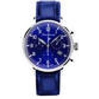 Quartz Dress Chronograph, blue leather strap, blue dial Messerschmitt