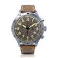 Vintage Chronograph Pilots Watch, brown leather strap, matt stainless steel Messerschmitt