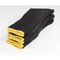 Socks 5-Pack, black with yellow, size 4-7 Wisent Work Wear