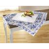 Square Decorative Tablecloth, white and blue
