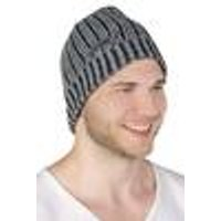 Knitted hat, grey / black, one size