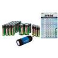 Saver pack of 40 zinc-carbon batteries & 40 alkaline button cell batteries in assorted sizes + LED Camelion