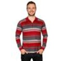 Striped polo shirt with zip up callor, black / white, size M