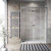 Image of Porta doccia 2 ante fisse + 2 ante scorrevoli Neo 170 cm, H 200 cm in vetro temprato, spessore 6 mm trasparente satinato