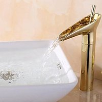 Antique Centerset Waterfall with Ceramic Valve One Hole Single Handle One Hole for Ti-PVD , Bathroom Sink Faucet