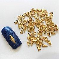 100PCS 23.5MM Golden 3D Metal Alloy Triangle Nail Art Decoration
