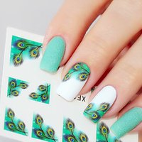 1sheet Fancy Colorful Feather Eyes French Edge Nail Water Decals Sticker Transfer Nail Stickers
