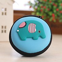 Animal Shape Closed Travel Headphone Change Storage Box(Random Color)