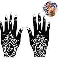1Pair Fashion Beautiful Flower Totem Design Nail Art LeftRight Hand Tattoo Stickers Tattoo Beauty Art Hollow Hand Template Flower Decoration S106
