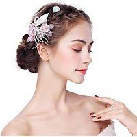 Artificial feather Alloy Flowers 2pcs Headpiece