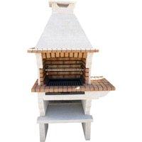 Barbecue en pierre reconstituée et brique avec cheminée et plan de travail