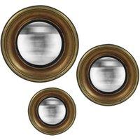 Lot de 3 miroirs convexes dorés