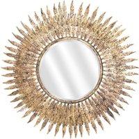 Miroir soleil doré Feuilles