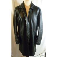 Ruffo mens large black leather coat