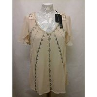 Image of new bnwt Next - Size: 8 - Beige sequin embellished caped shoulders top