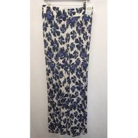 Alpha Studios White And Blue Trousers Alpha Studios - Size: 18 - White - Jeggings / Stretch Trousers