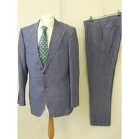 """Tollegno 1900 Size 42"""" Chest Long Length Blue Single Breasted Suit"""