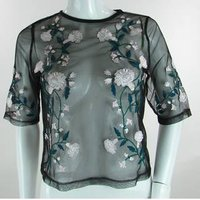 BNWT - River Island - Size: 12 - Black with Embroidered Flowers - Sheer Top