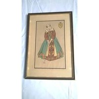 F T Richards framed colour tudor lady golf print