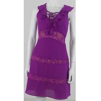 Image of BNWT Glamorous Size XS Purple Lace-up Dress with Frills.