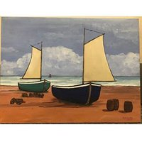 Paul Bursnall Canvas Fishing Lobster Boats Beach Painting 2008