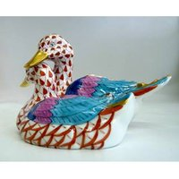 Vintage Hungary Herend Fishnet Figurine Pair of Ducks