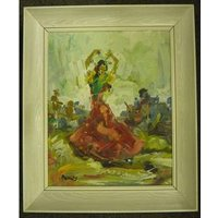 Flamenco Dancer - Oil Painting by George Richard Deakins