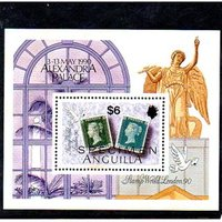 Image of Anguilla 'Stamp World London 1990' mini-sheet, unmounted mint with 'Specimen' overprint