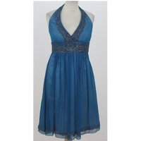 Image of Adrianna Papell Size 4 Blue silk halter-necked dress