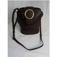 Image of BNWT Therapy Brown Leather and Moc Croc Small Shoulder Bag