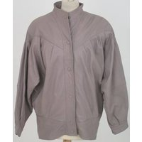 Image of Unbranded Size S Beige 80s-style Genuine Leather Jacket