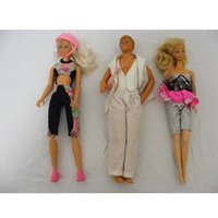 Image of Barbie, Ken and Cindy Dolls plus Assorted Clothes